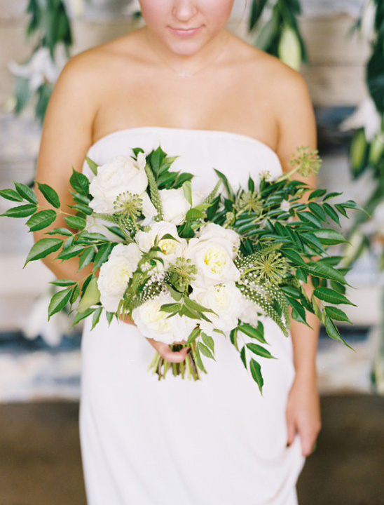 greenery and white floral bouquet