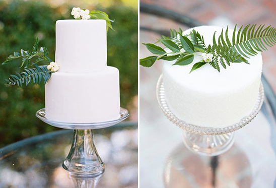 fern embellished wedding cakes