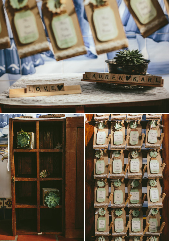 escort card and wedding favor station