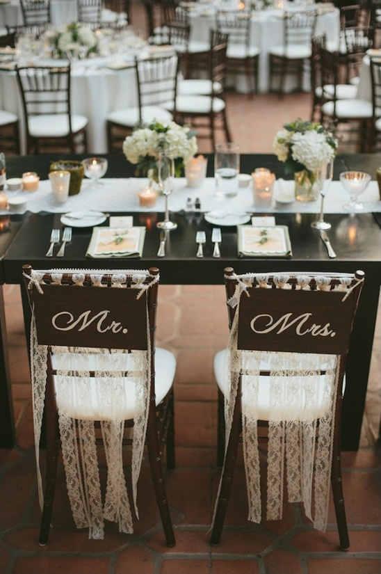 mr and mrs seat signs with lace streamers