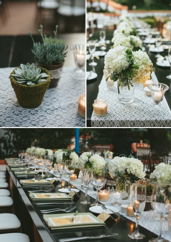 succulent hydrangea and lace centerpieces