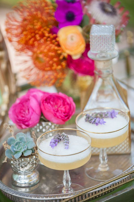 lavender whiskey sour bride's drink
