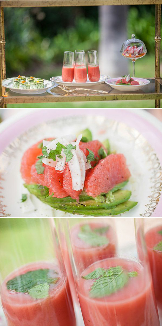 watermelon soup and grapefruit avocado salad