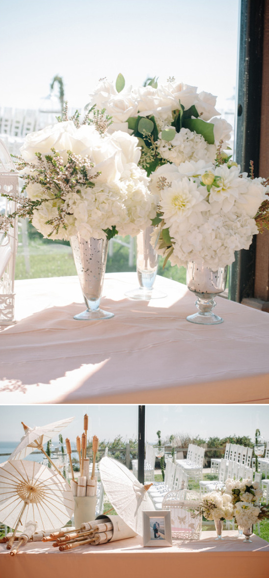 ceremony welcome table with sun parasols for guests