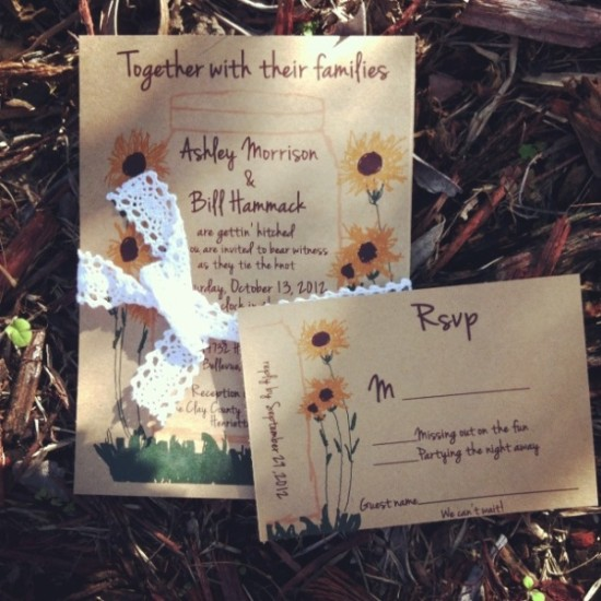 Sunflower Kraft wedding invitation with cotton lace Digital now!