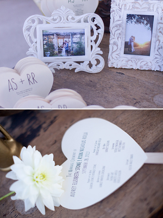 engagement photos and heart shaped wedding progams