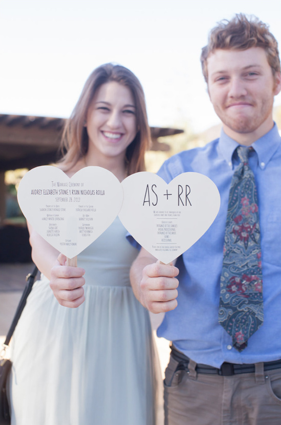 heart shaped wedding programs