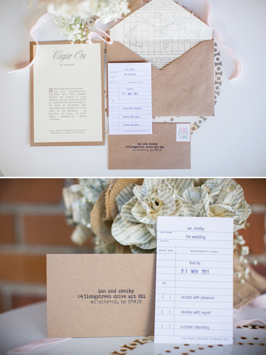 library inspired wedding invite