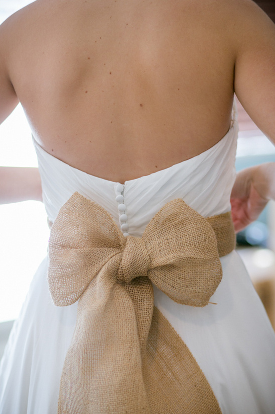 burlap bow on wedding dress