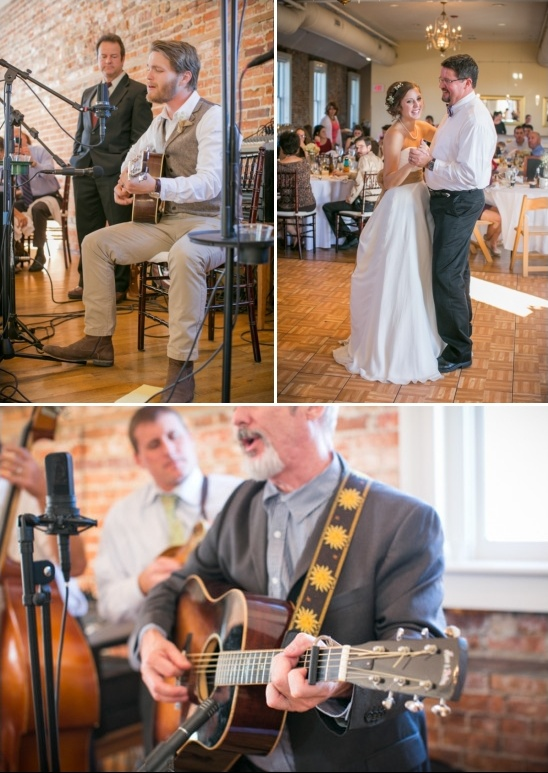 groom serenading bride during the father daughter dance