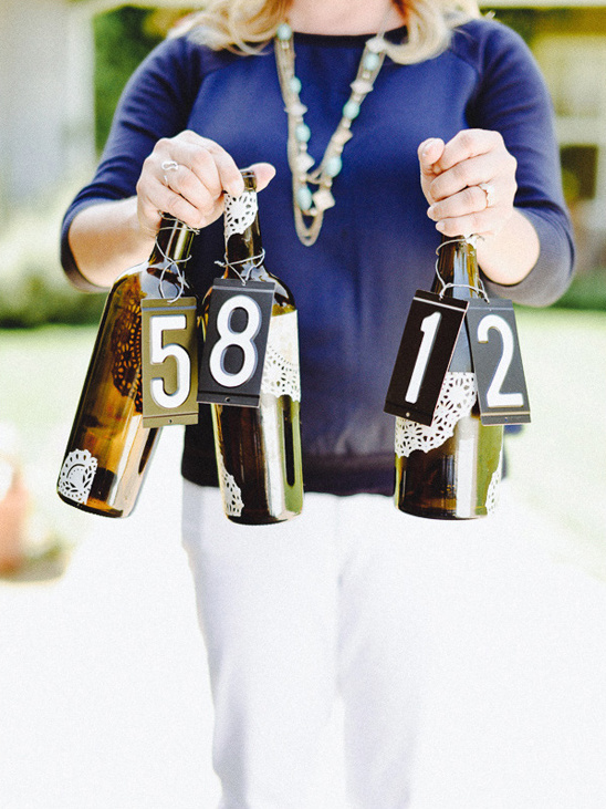upcycled wine bottle table numbers