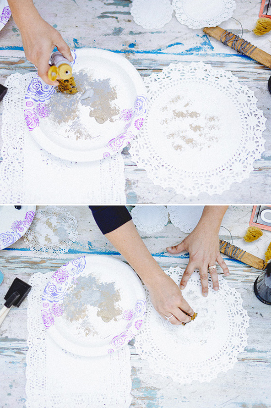 with sponge and paint age your paper doilies