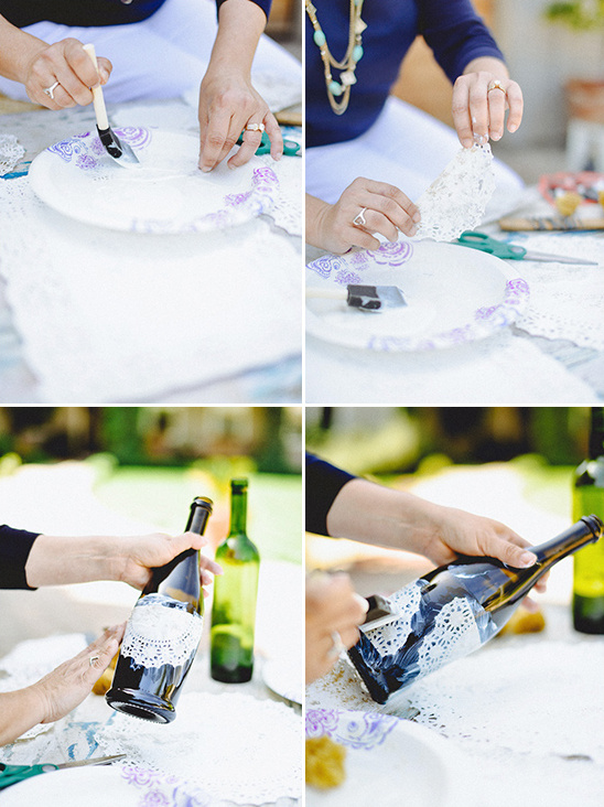 mod podge doily to wine bottle