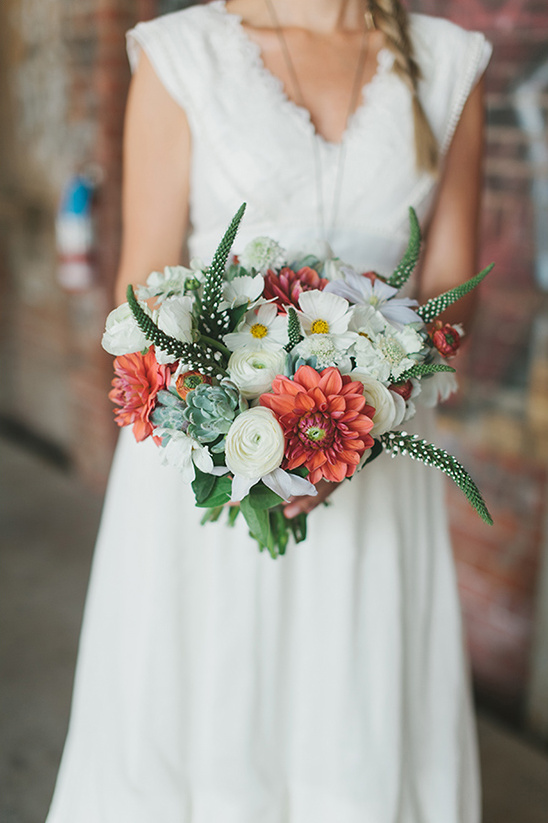 green white and peach wedding bouquet