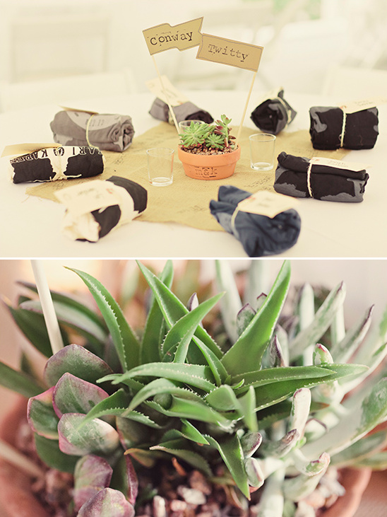 t-shirt favors and succulent centerpieces