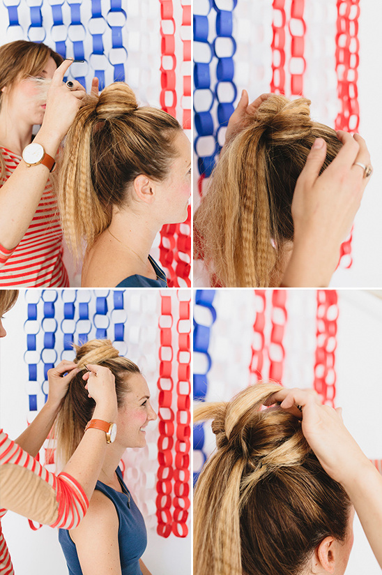 pull ponytail forward and begin to pin and wrap