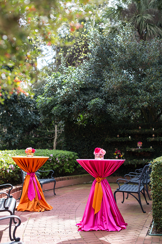 bright pink and orange cocktail tables