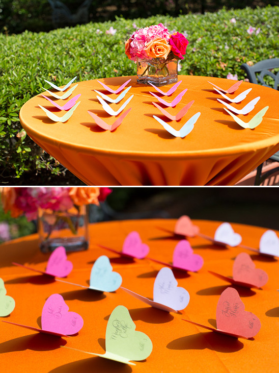 colorful butterfly escort cards