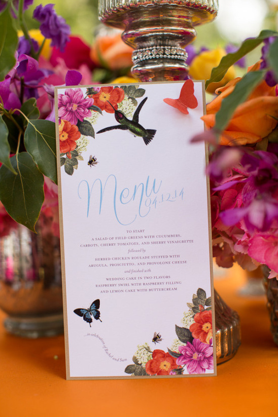 nature inspired bright wedding menu