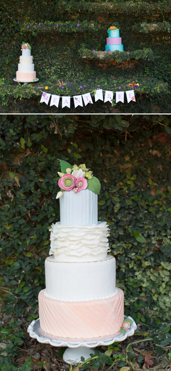 darling white and pink wedding cake