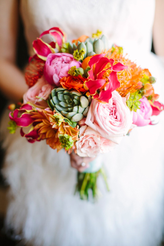bright and bold wedding bouquet