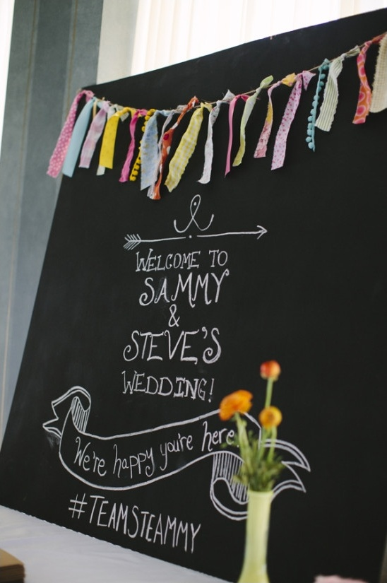 wedding sign with diy fabric banner