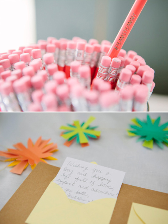 cute custom wedding pencils for guests to leave love notes with