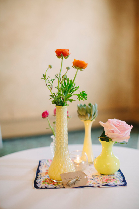 tiny yellow vases