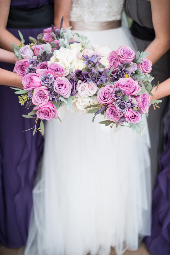 purple bridal party bouquets