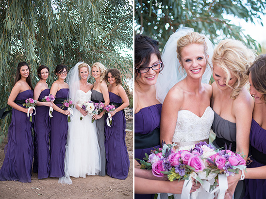floor length purple ruffle bridesmaid dresses