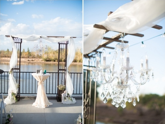 sparkly wedding ceremony chandeliere