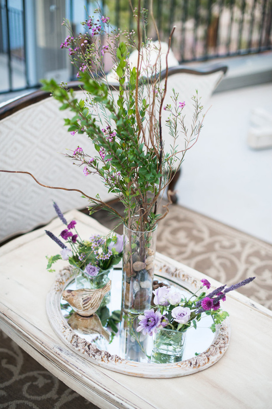 vintage looking purple centerpiece