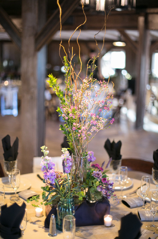 purple wild flower centerpieces