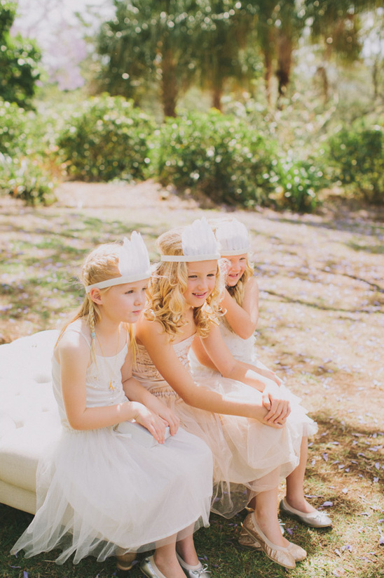 flower girls with feather headbands
