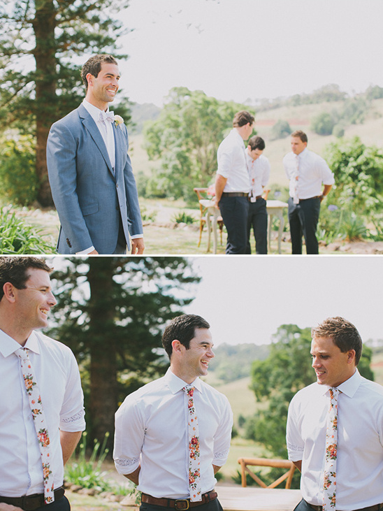 flower ties on the groomsmen