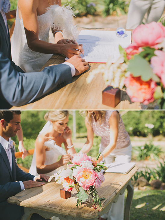use a special pen to sign marriage documents