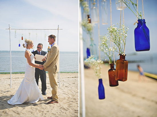blue clear and brown bottles ceremony backdrop