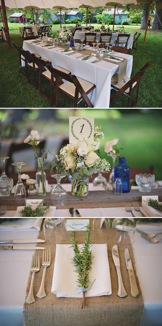 simple and clean burlap reception