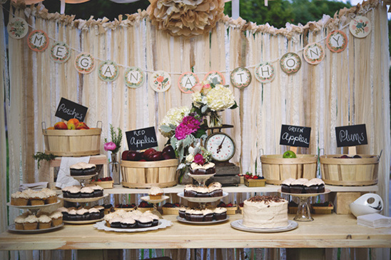 cakes and produce display