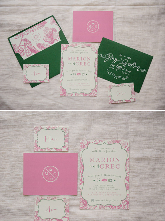 green and pink wedding invites