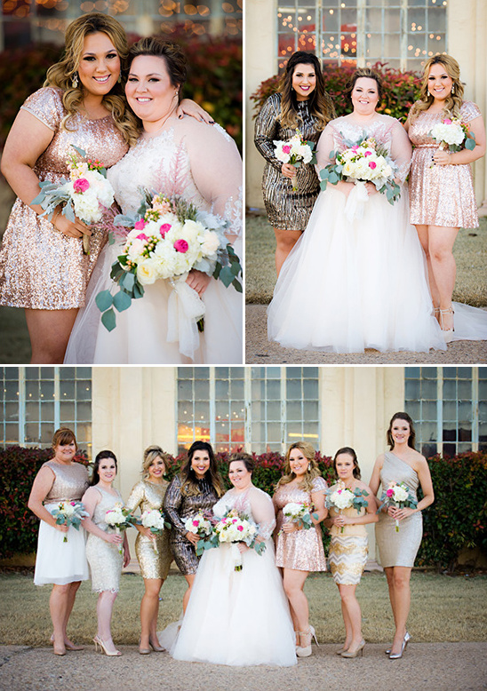 assorted glittery bridesmaid dresses