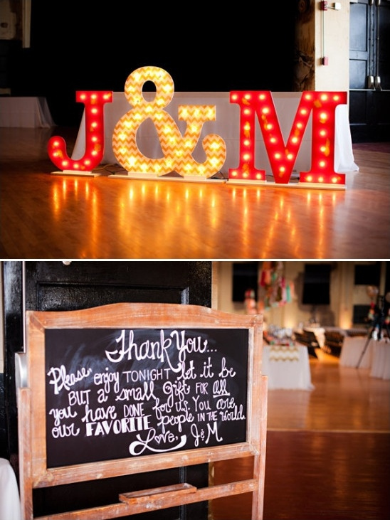 light up initials and thank you chalkboard sign