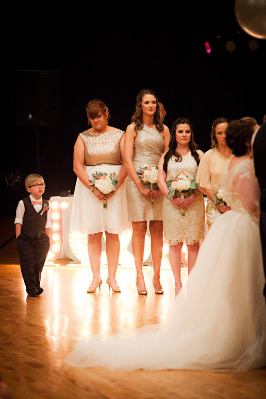 gold bridesmaids and snazzy ring bearer