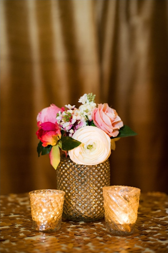 glittery gold flower vases and votive holders