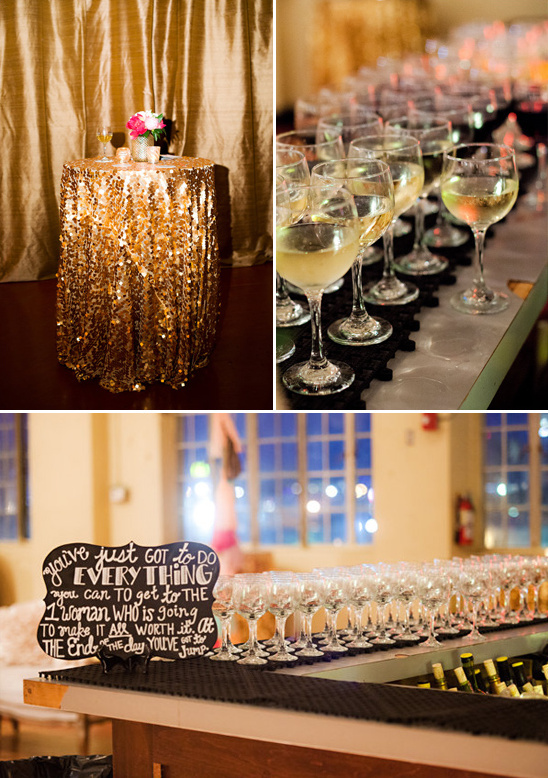 sequin drapped cocktail tables and chalkboard bar sign