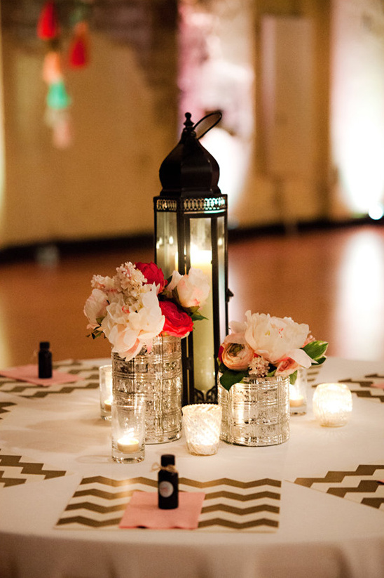 lantern and votive lit reception tables