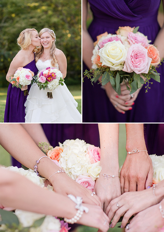 bridesmaid bouquets and custom bracelet