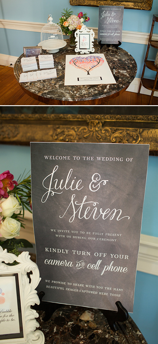 wedding welcome cellphones off sign