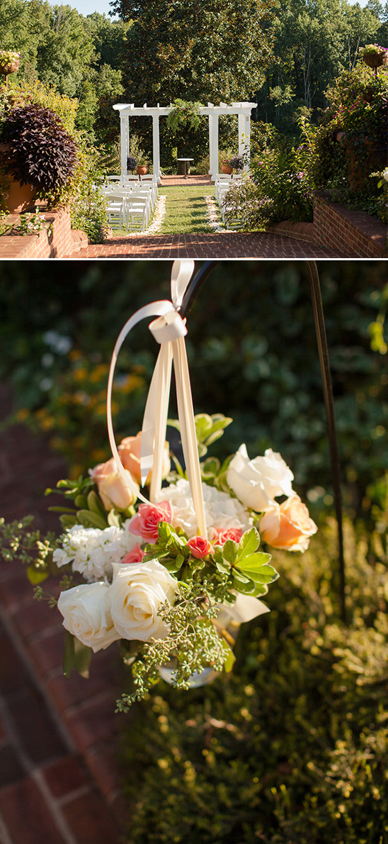 outdoor ceremony with hanging florals