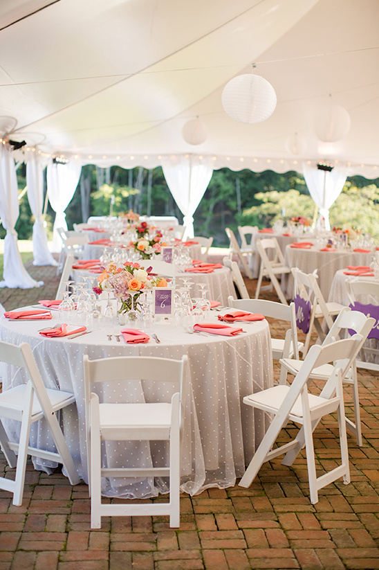 pink and purple reception embellished with swiss dots